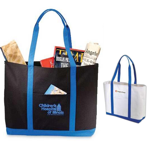 Beacon - Boat Design Tote Bag With Top To Bottom Stitching On Handles. Closeout Photo