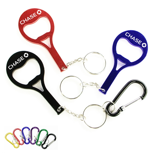 Tennis racket shape bottle opener key chain