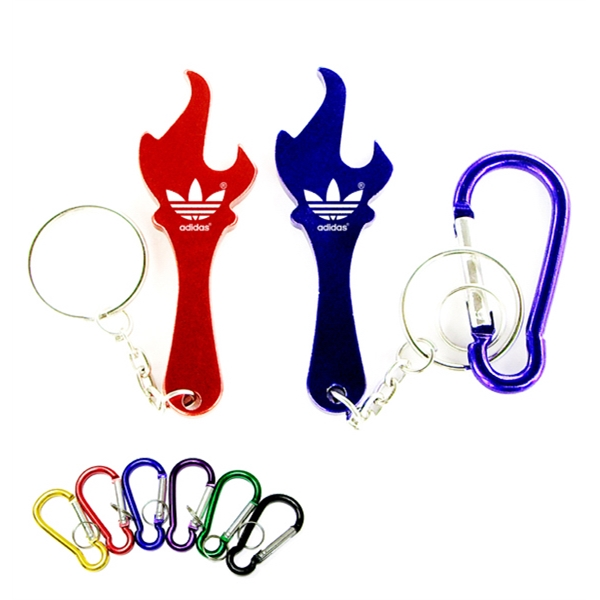 Torch shape bottle opener keychain