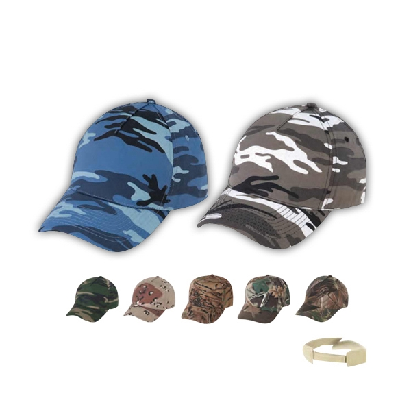 Low Crown Constructed 5 Panel Camo Twill Cap Photo