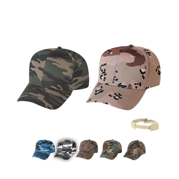 Low Crown Constructed 6 Panel Camo Twill Cap Photo