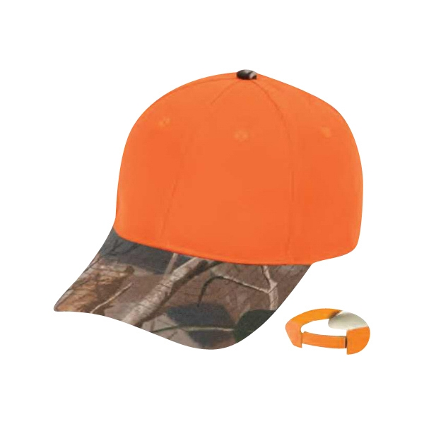 Flame Orange Cap With Oak Camo Bill, 6 Panel Photo