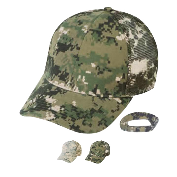 6 Panel Digital Camouflage Cap With Mesh Back And Pre-curved Visor Photo
