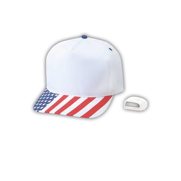 Pro 5 Panel Constructed Cotton Twill Cap With Us Flag Print Photo