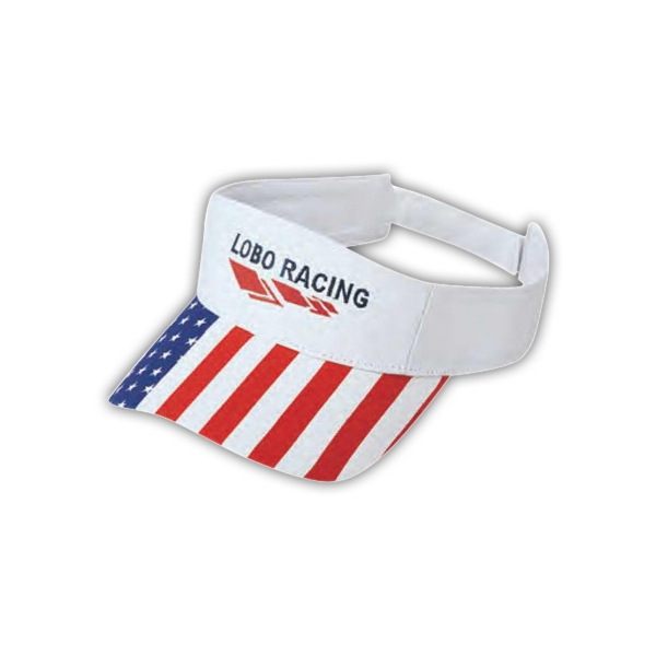 "Pro Style Deluxe Cotton Twill, ""us Flag"" Visor With Pro Stitch On Crown Photo"