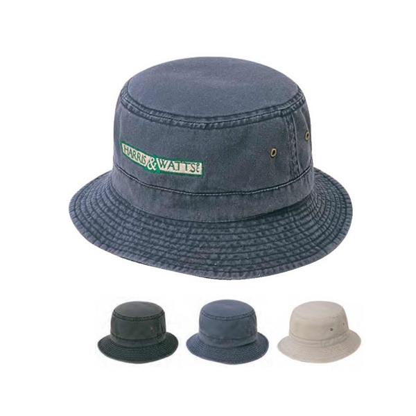 Bucket Hat, Pigment Dyed And Cap Washed Made Of 100% Cotton Twill Fabric Photo