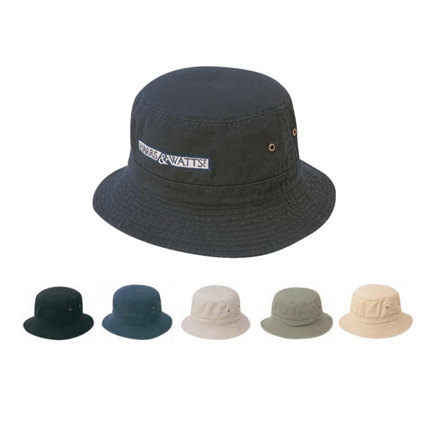 Bucket Hat, Normal Dyed And Cap Washed, Cotton Twill Fabric Photo