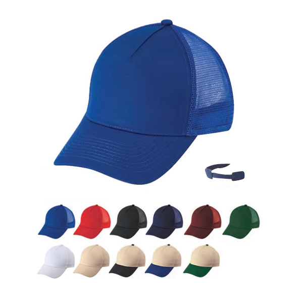 Constructed 5 Panel 100% Cotton Twill Mesh Cap With Self Fabric Velcro Strap Photo