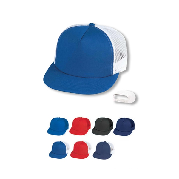 Five Panel Cotton Foam Trucker's Cap With Plastic Adjustable Snap Photo