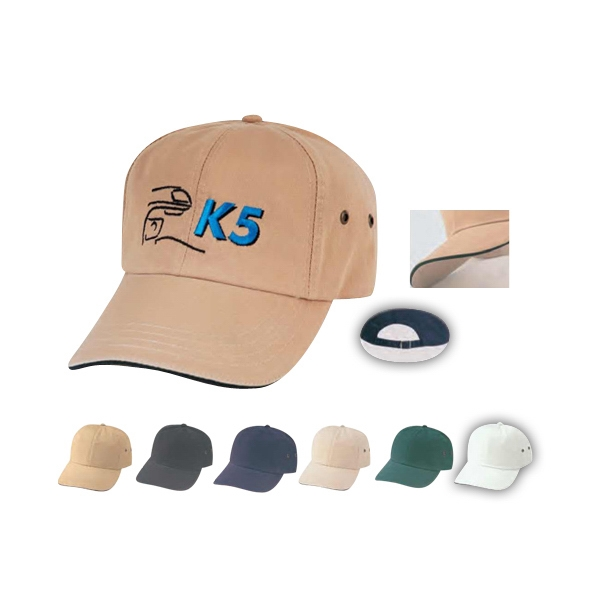 Low Crown Unconstructed Deluxe Polo Style Cotton Twill Cap With Sandwich Bill Photo