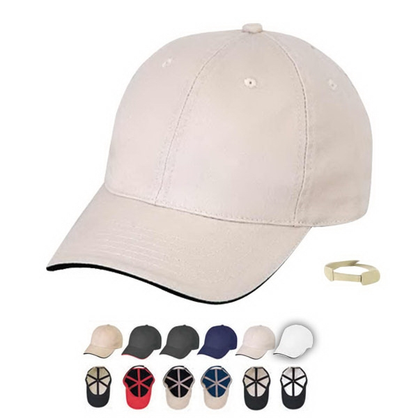 Low Crown Unconstructed Chino Cap Washed Twill Cap, 6 Panel With Sandwich Bill Photo