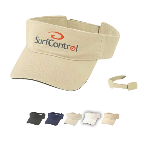 Pro Style Deluxe 100% Cotton Twill Visor, Washed, With Sandwich Bill Photo