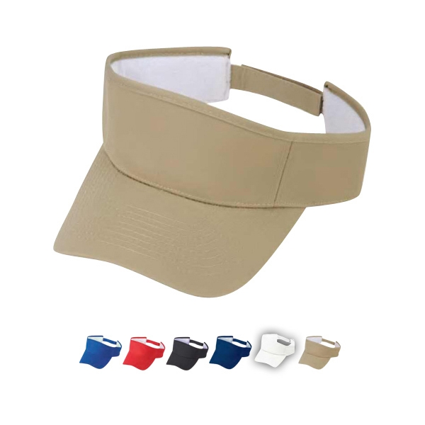 Pro Style 100% Cotton Twill Visor With Pro Stitches On Crown And Self Fabric Strap Photo