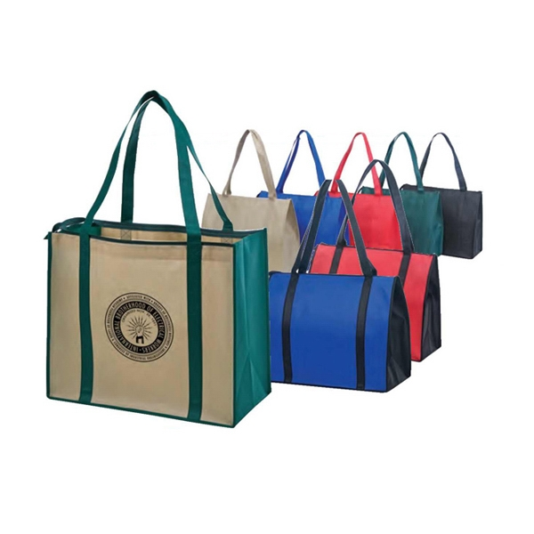 Eco-friendly Collection - Non-woven Tote With Zipper, Fabric Covered Bottom Photo
