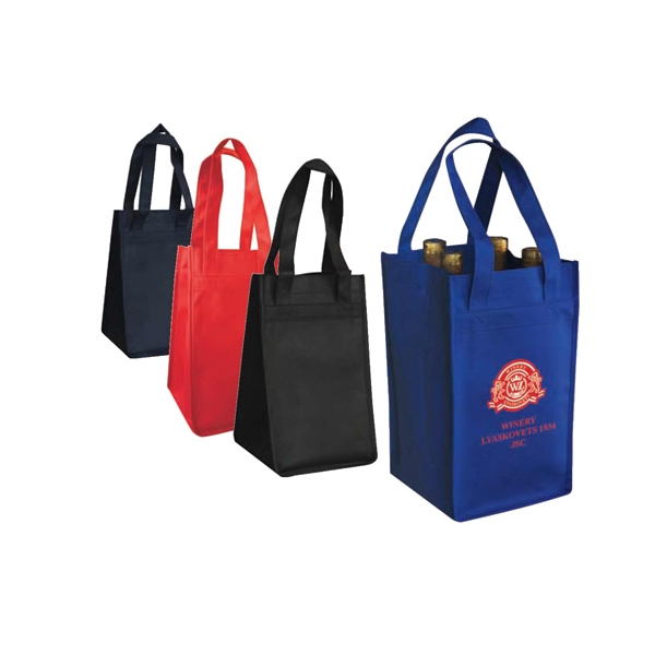 "Eco-friendly Collection - Non-woven Wine Bag. Will Accomodate 4 Bottles, 7""w X 12""h X 7""d Photo"
