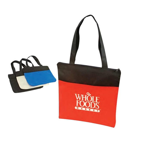 "Eco-friendly Collection - Non-woven Tote Bag With Zipper, 15"" X 16"" X 1 1/4"" Photo"