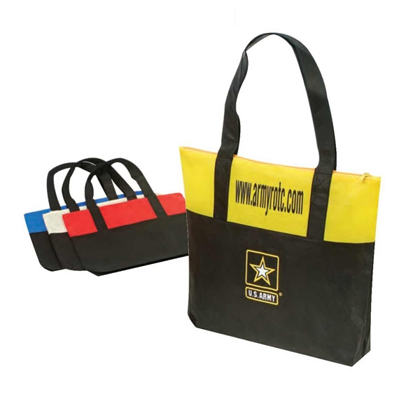 "Eco-friendly Collection - Non-woven Tote Bag With Zipper, 18 1/2"" X 15"" X 3"" Photo"