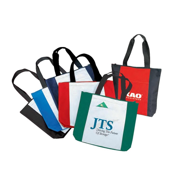 "Polyester Zippered Tote Bag With Heavy Vinyl Backing, 16 1/2"" X 14"" X 4"" Photo"