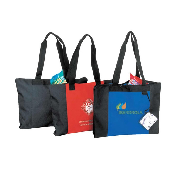 "Polyester Zippered Tote Bag With Heavy Vinyl Backing, 20"" X 15"" X 3"" Photo"