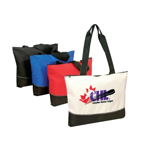 Polyester 600 Denier Tote Bag With Zipper And Heavy Vinyl Backing Photo