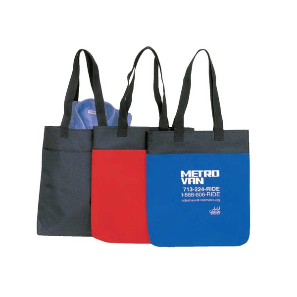 "600 Denier Polyester Tote Bag With Heavy Vinyl Backing, 14"" X 15 1/2"" X 1 1/4"" Photo"