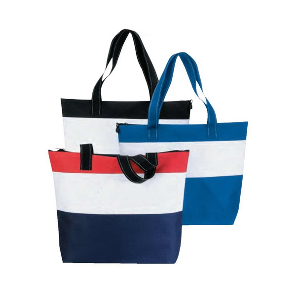 Polyester 600 Denier Zippered Tote Bag With Heavy Vinyl Backing Photo