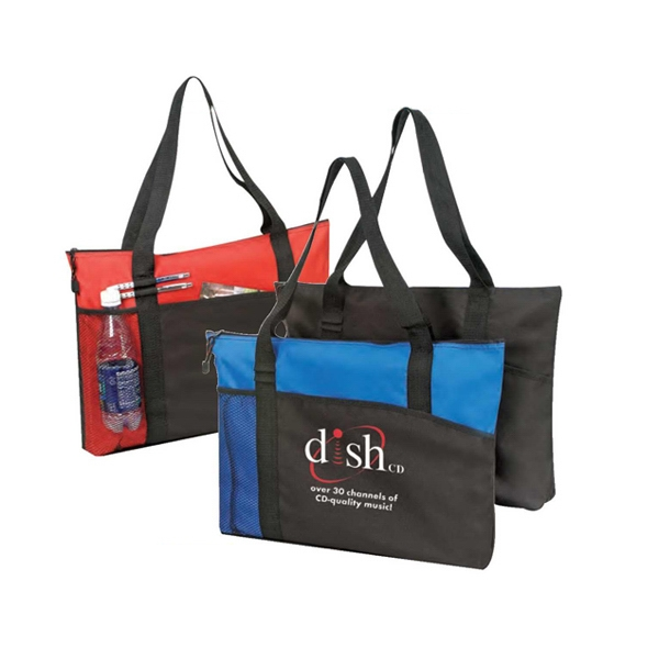 Polyester 600 Denier Tote Bag With Heavy Vinyl Backing And Zipper Photo