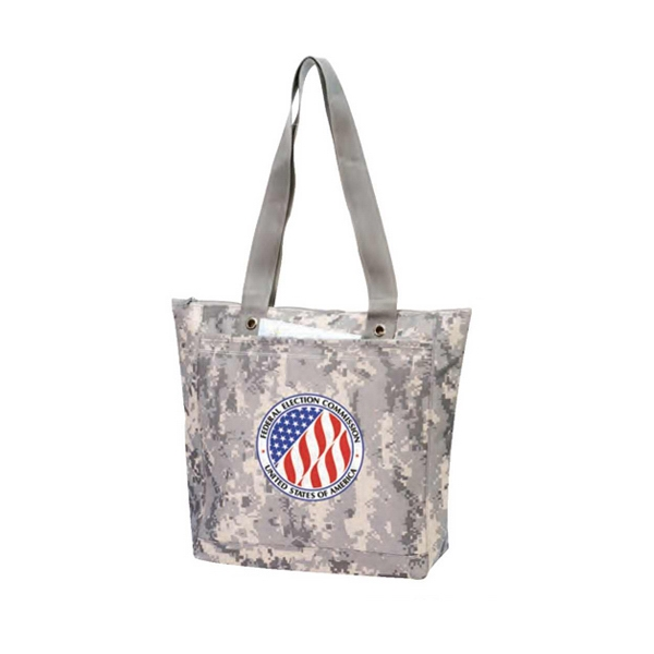 Digital Camo Tote Bag With Zipper And Heavy Vinyl Backing Photo