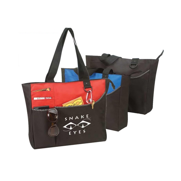 "Polyester Tote Bag With Zipper, 15 1/2"" X 13"" X 4 1/4"" Photo"