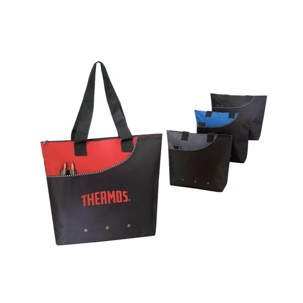 Deluxe Polyester Zippered Tote Bag Photo