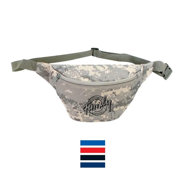 Digital Camo One Zipper Fanny Pack With Heavy Vinyl Backing Photo