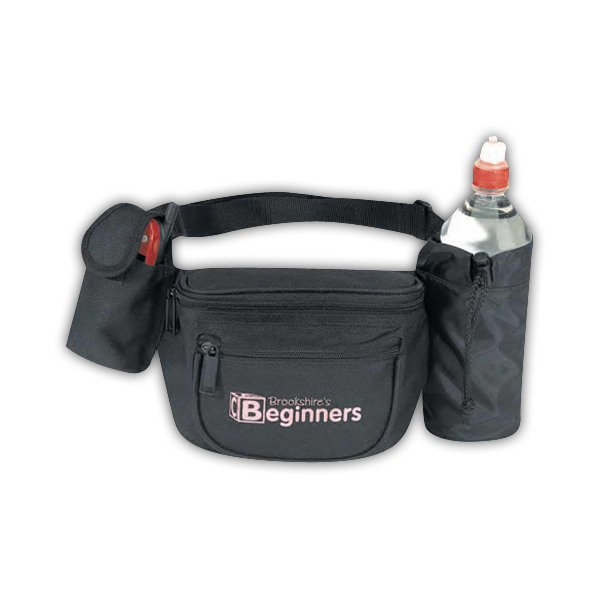 Black - Polyester 600 Denier Fanny Pack With Bottle Holder And Cellular Phone Pouch Photo