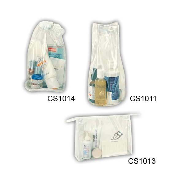 "Clear Vinyl Cosmetic Tote With White Trim, 6"" Diameter X 9"" H Photo"