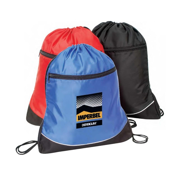 "Nylon Drawstring Backpack With Coating, 14"" X 18"" X 1 3/4"" Photo"