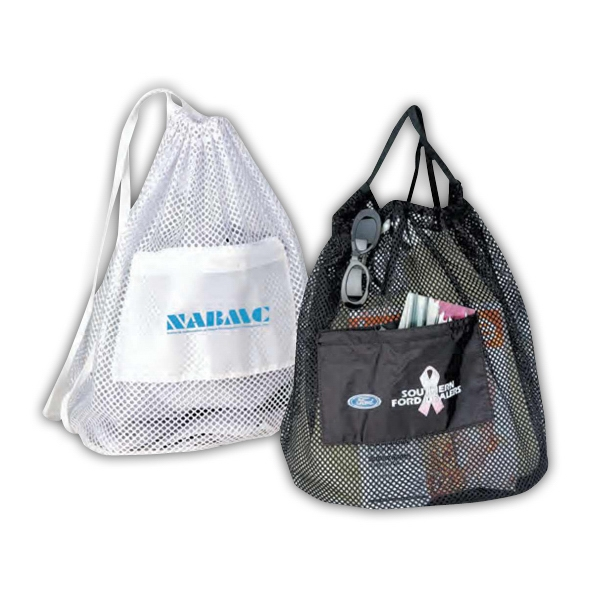 "Nylon Drawstring Mesh Tote Bag, 14"" X 18"" X 8 1/2"" Photo"
