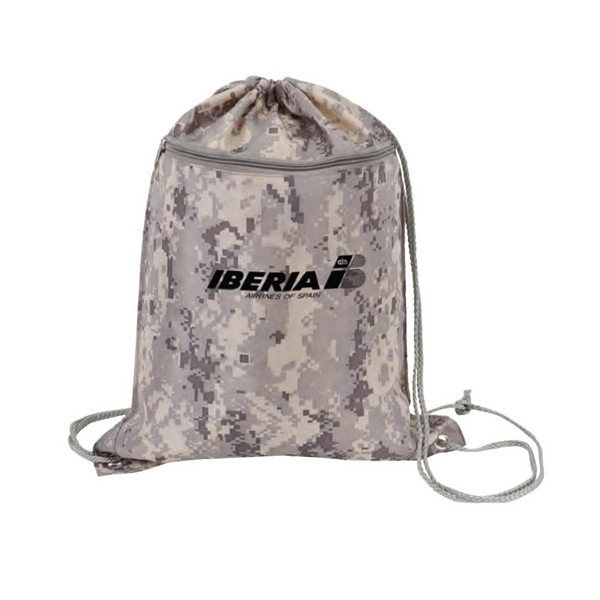 Digital Camo Drawstring Tote Bag With Zipper, Polyester With Polyurethane Coating Photo