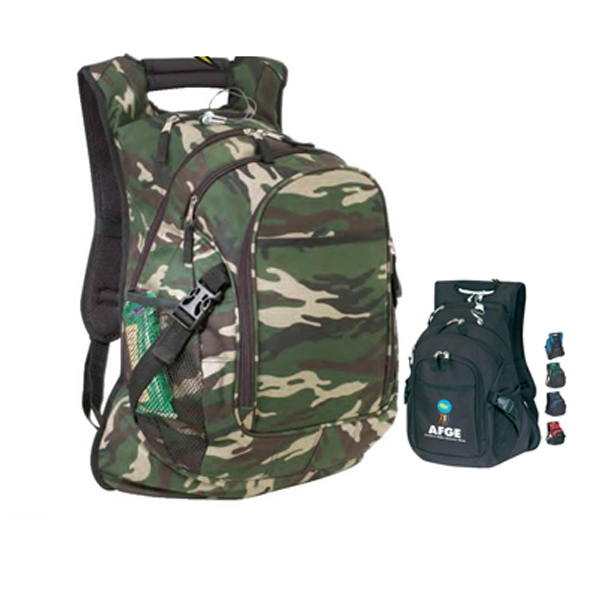 "Camo Computer Backpack With Heavy Vinyl Backing, 15"" X 21 1/2"" X 9"" Photo"