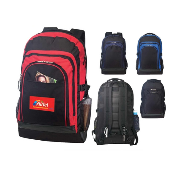 Polyester Outdoor Computer Backpack With Leather-like Trim Photo