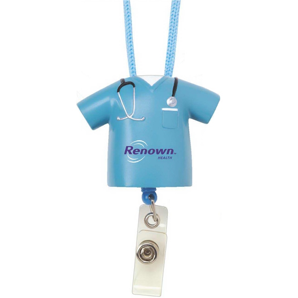 Blue Scrub Designed Retractable Badge Pull With Break Away Lanyard Photo