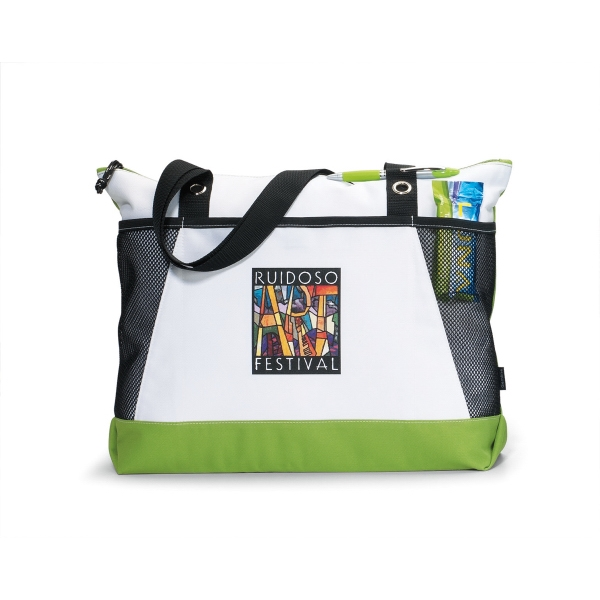 Venture - Apple Green - Business Tote Bag With Zippered Main Compartment And Mesh Pockets Photo