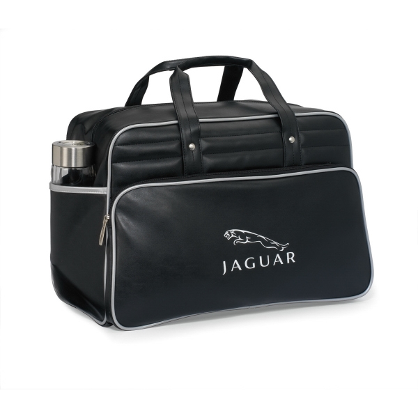 Black-silver - Retro Simulated Leather Weekender Bag With Trendy Accent Piping Photo