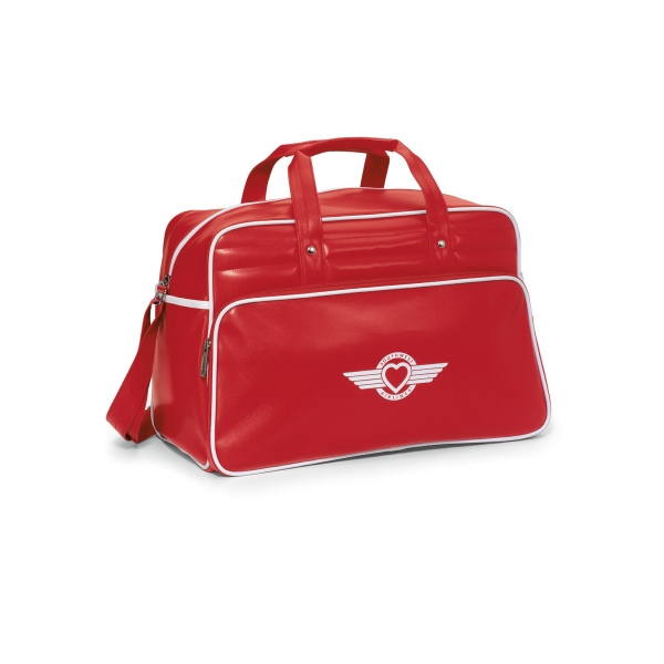 Santa Fe Red-white - Retro Simulated Leather Weekender Bag With Trendy Accent Piping Photo