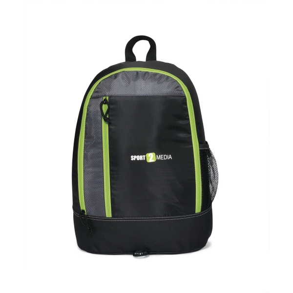Eclipse - Black - Backpack With Zippered Main Compartment And Side Mesh Pocket Photo