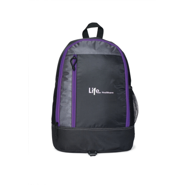 Eclipse - Purple - Backpack With Zippered Main Compartment And Side Mesh Pocket Photo