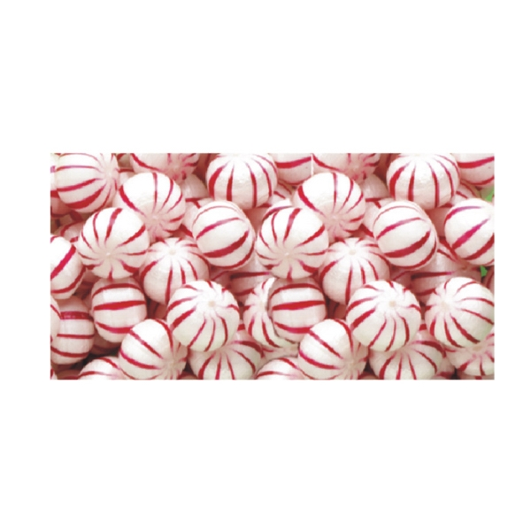 Hard Peppermint Balls Hard Candy - Hard candy peppermint balls in a stock design wrapper.