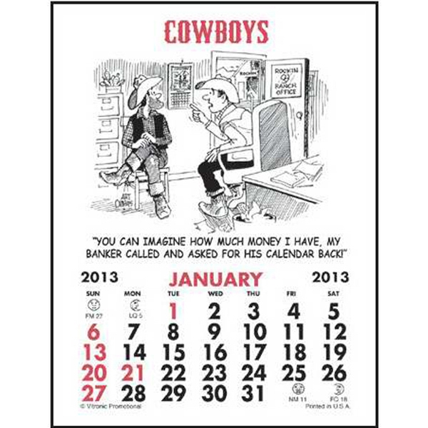 Magna Stick (tm) - Magnetic Stick Calendar With A Cowboy Calendar Pad Photo