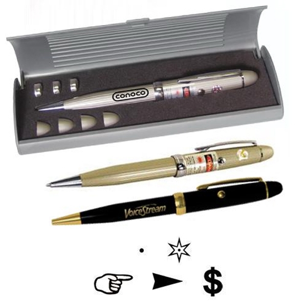 Brass Pen With Laser Pointer, 5 Interchangeable Business Lenses Photo