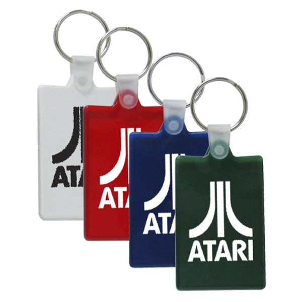 "2"" Rectangular Key Chain; Flex Pvc Style With Silver Ring Photo"