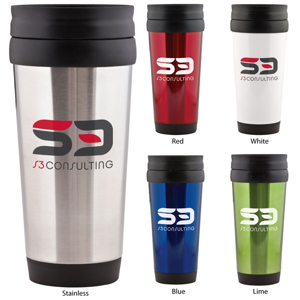 Eldorado - Catalog 5-7 Day Production - 15 Oz. Stainless Steel Tumbler With Black Plastic Liner And Slide-lock Lid Photo