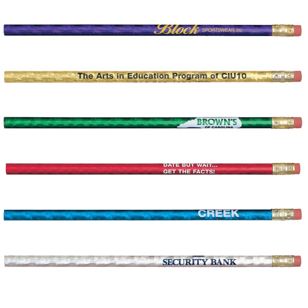 Glitz - Sale 5-7 Day Production - Pencil With A Metallic Foil Prism Design, Rubber Eraser And Number 2 Insert Photo